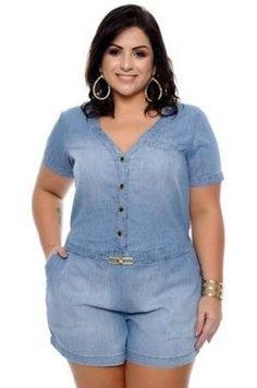 Macaquinho Jeans Plus Size Adalia Plus Size Chic, Looks Plus Size, Moda Plus Size, Plus Size Casual, Plus Size Jeans, Plus Size Romper, Plus Size Dresses, Plus Size Outfits, Curvy Girl Fashion