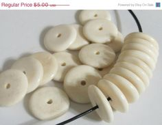 10% Sale - Large 20 mm size Ivory color flat disc bone beads - 20 beads - HB049C