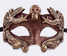 "Red and gold metallic finish masculine skull Mardi Gras Masquerade Mask. Black silk ribbon ties. 6"" wide, 4"" tall"