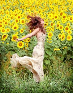 in the sunflowers...