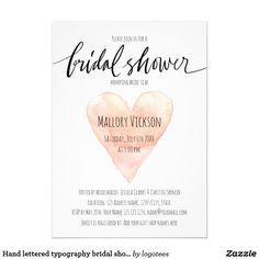 Hand lettered typography bridal shower invitations