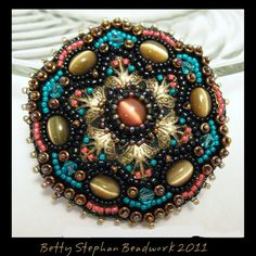 KIT Brown Cathedral Windows brooch by BettyStephanBeadwork on Etsy