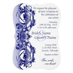 Elegant Scroll Wedding Invitation - Navy Blue 5B