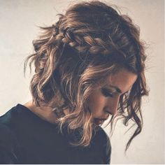 Cute bob w/ messy braid pinned back is the perfect look for a winter day inside to watch a movie have some hot chocolate!