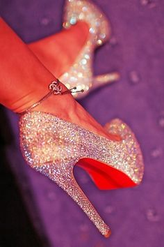 Chanel white  gold glitter shoes with a bracelet