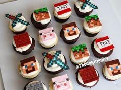 Ideas For Birthday Cupcakes Boy Minecraft Fondant Minecraft Cupcakes, Bolo Minecraft, Minecraft Birthday Cake, Minecraft Party, Fondant Cupcakes, Cupcake Cakes, Kid Cakes, Birthday Party Snacks, Birthday Cupcakes
