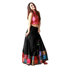 Buy Black Color Banglori Silk With Digital Print Work Semi-Stitched Lehenga Choli Online at cheap prices from Shopkio.com: India`s best online shoping site