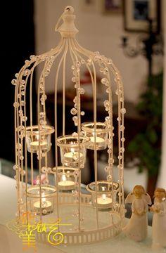 Fashion iron cage lights bird cage lantern pendant light brief Large vintage bird cage decoration