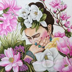 Pensamientos de mi vida - Frida Kahlo Feliz 110 cumpleaños Frida 24 x 24 pintura Original de Frida Kahlo en la lona Yo quería tener esto terminado el 6 de julio, el cumpleaños 110 de Frida pero es una gran pintura y tardó más de lo que pensaba. Es increíble cómo ella se celebra. Hay festivales, pasando por todo los Estados Unidos y especialmente en California, donde le celebrará su cumpleaños durante todo este mes para que sea también con varias obras más. Estoy especialmente contento con…