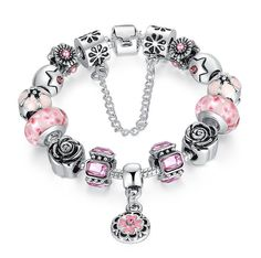 Silver Glass Bead Rhinestones Charm Bracelet with Safety Chain - Pink