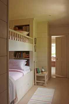 Beautiful built in bunk beds...like the little built in shelf at head of bed for books and trinkets