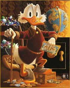 This painting by Carl Barks is on the cover of Uncle Scrooge McDuck: His Life & Times.