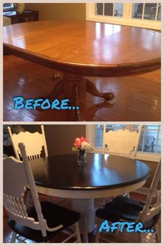 Breakfast Table Makeover with Java Gel Stain and Annie Sloan Old White Chalk Paint - June 08 2019 at Refurbished Furniture, Repurposed Furniture, Shabby Chic Furniture, Furniture Makeover, Painted Furniture, Dresser Makeovers, Distressed Furniture, Furniture Projects, Diy Furniture