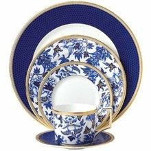 Wedgwood Hibiscus dinnerware, a formal china pattern with blue, white and gold. View promotional offers / savings http://www.dinnerwaredepot.com/shop/catalog/handler~event~familySelected~pf_id~13532.htm on #wedgwood #hibiscus #china
