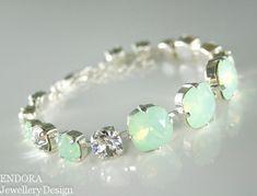 Mint green jewelry,Mint green opal bracelet,Swarovski crystal bracelet,Crystal bracelet,Mint green wedding,Swarovski bracelt,Mint wedding on Etsy, £28.10