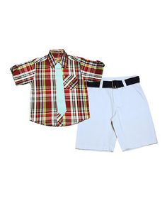 Loving this Red & Teal Plaid Button-Up Set - Infant, Toddler & Boys on #zulily! #zulilyfinds