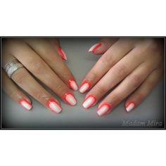 Red and white nail designe