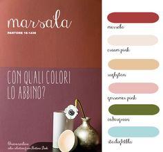paletta colori di abbinamento al colore #marsala 18-1438