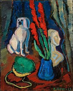 Agnes Cleve - Still Life with Percelain Dog 1919