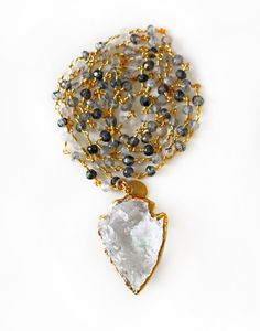 gray rutilated quartz arrowhead necklace