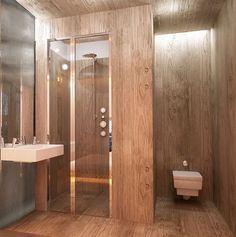 45 Amazing Wooden Bathroom Designs : 45 Amazing Wooden Bathroom Designs With Wooden Wall And Glass Shower Box And Toilet And Wooden Floor An. Bathroom Layout, Modern Bathroom Design, Bathroom Interior Design, Bathroom Designs, Bathroom Ideas, Interior Modern, Shower Box, Glass Shower, Dark Bathrooms