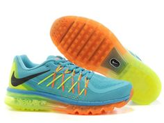 Orange and Aqua Blue Nike Unisex Air Max 2015 Running Sneaker #Nike #Running #Shoes #Fitness #Fashion