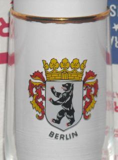 Vintage Berlin Coat of Arms Crest German Gold Rim Stem Beer Glass Pilsner  #berlin #icheinberliner