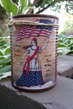 Primitive Label Americana Fourth of July Tin by TheLilPrimCabin, $9.00