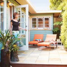 Small-budget deck - Great Deck Ideas - SunsetSmall-budget deck This 9- by 25-foot deck covered with multicolored slate tiles provides the perfect place for quiet and relaxation. Handsome stone pavers ― a product called Stone Deck ― make it feel like a terrace on the ground. These tiles rest on the same kind of framework a wooden deck does. The broad wooden steps are made of ipe, a rich, red-colored Brazilian hardwood.