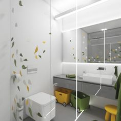 Building or remodelling your bathroom? Start with a good design! Here's an inspiration. Jungle Bathroom, Bathroom Kids, Bathrooms, Jungles, Round Corner, Bathroom Inspiration, Cool Designs, Projects, Home Decor