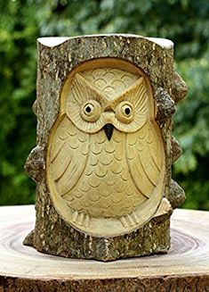 Wood Carved Owl In A Log