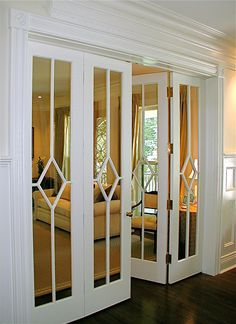 What a gorgeous pair of doors! These are wonderful as french doors between two rooms or you could add mirrors to closet doors and make this design with trim pieces. Door Design, House Design, Design Design, Cafe Design, Design Ideas, Mirror Closet Doors, Mirror Door, Mirror Decal, Mirrored Bifold Closet Doors