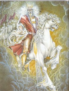 Now I saw heaven opened, and behold, a white horse.  And He who sat on him called Faithful and True, and in righteousness He judges and makes war... He was clothed with a robe dipped in blood, and His name is called The Word of God.  Revelation 19:11-16  Art used by Pat Marvenko Smith, copyright 1992.