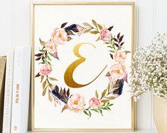 Boho Letter E Art, Custom Letter Art, Monogram Letter Art, Floral Nursery Monogram, Printable Letter Print, Floral Letter Art, Bo-Ho