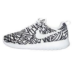 Nike Roshe One Print Womens 599432-110 White Black Rosherun Running Shoes Sz 8.5