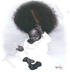 This little one made me smile - and WHAT an afro! Black Love Art, Black Girl Art, My Black Is Beautiful, Black Girl Magic, Art Girl, African American Art, African Art, Natural Hair Art, Natural Hair Styles