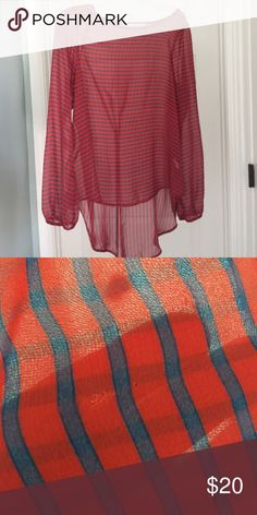 High low stripe sheer top Size medium from Francesca's. Has a very small tear in the back I attempted to picture Francesca's Collections Tops Blouses