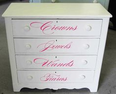 Proving once again that decals aren't just for walls, these fun labels are perfect for a dresser fit for a princess!