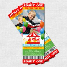 Personalized CIRCUS or CARNIVAL Birthday Party Ticket Invitations - (print your own). $9.00, via Etsy.