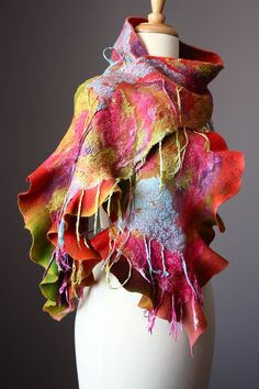 Nuno Felted scarf  Wool cotton fringe  handdyed painted ruffled Pink Purple Blue Yellow / green  nunofelting