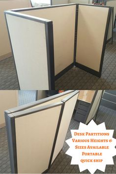 """These office dividers are very flexible. They are portable partitions & fold for a quick ship option to give you desk dividers in less than 90 seconds. We can add a worksurface to give you an option for a growing company that needs an office desk quickly. We also can make this into a office phone booth. Shown as 69 inches tall, we can do 42"""" or 56"""" tall. At 42"""", this could be a reception desk or sales counter. Available in different fabrics & finishes."""