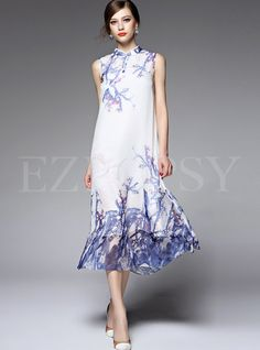 Shop for high quality Fashion Chiffon Sleeveless Print Maxi Dress online at cheap prices and discover fashion at Ezpopsy.com