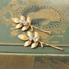 Gold Leaf Bobby Pins, Rustic Woodland Hair Pieces, Grecian Laurel Leaves, Rhinestone Hair Pins, Twig and Branch Hair Accessories, Weddings