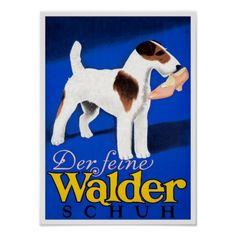 Schnauzer Dog with Shoe, German Vintage Poster