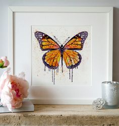 Printable watercolor painting of a Monarch Butterfly. INSTANT DOWNLOAD: This is a DIGITAL PRODUCT - NO PHYSICAL PRODUCT WILL BE SENT The digital