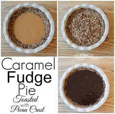 This is the BEST Pie...w/ Toasted Pecan Crust.../Caramel FudgePie #GlutenFree #GlutenFreeDesserts #Crustlesspie