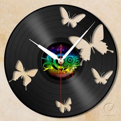 vinyl wall clock  butterfly by Anantalo on Etsy, ฿1100.00