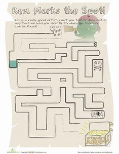 Kindergarten Mazes Worksheets: Dinosaur Maze