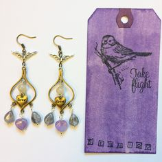 "Silver Winged Dangle ""Love"" Earrings w/ Amethyst Heart, Smoky Quartz & Silver Wrapped Citrine! TAKE FLIGHT by TakeFlightStudioWA on Etsy"