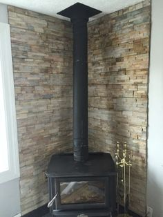 Wood stove surround.